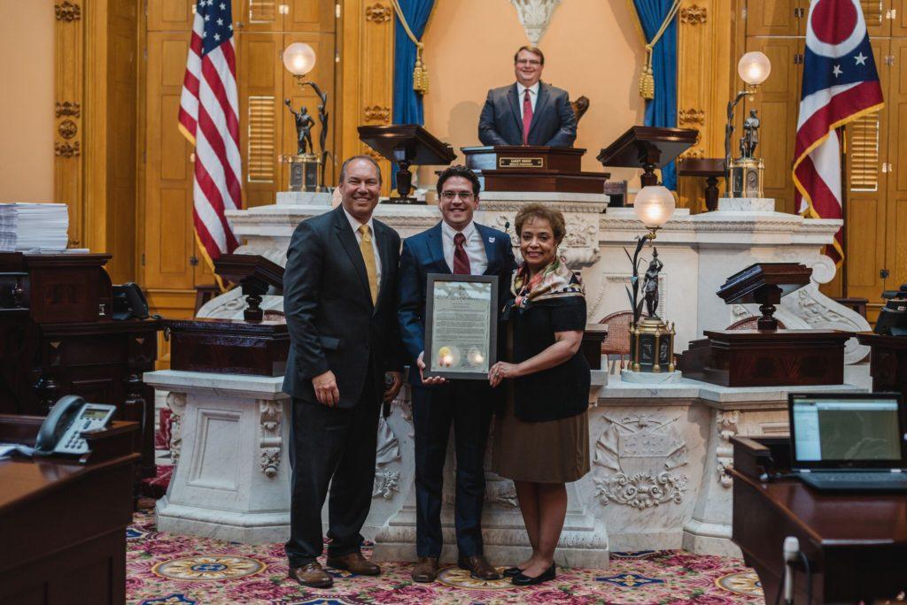 Senator Bob Peterson (R-Washington Courthouse), Dr Santin, Senator Charleta Tavares (D-Columbus)